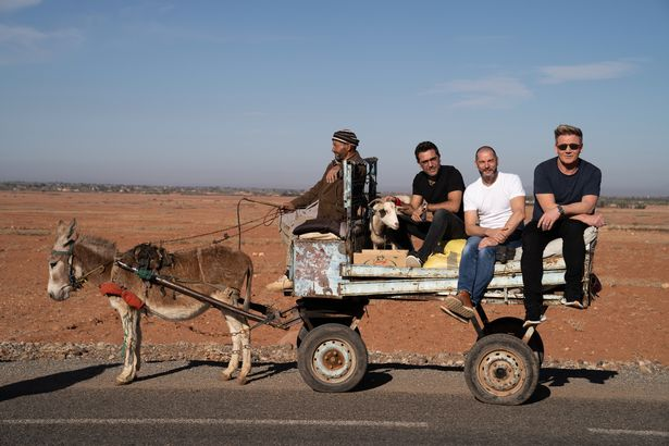 Gordon Ramsey, Gino D'Acampo and Fred Sirieix make tiny donkey pull them in cart
